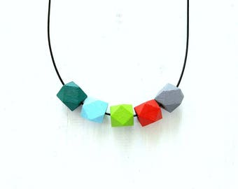 Wooden Bead Necklace, Geometric Necklace, Hexagon Necklace, Summer Necklace, Geometric Jewelry, Colorful Necklace, Wooden Necklace