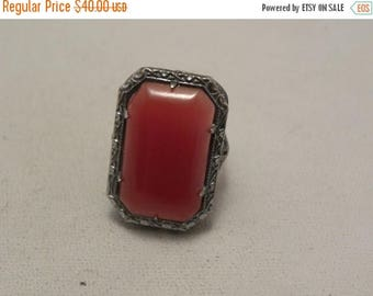 20% Off Sale Vintage Deco Carnelian Glass Stone Sterling Filigree Ring Size 4