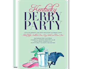 Kentucky Derby Party 5x7 Invitation with Mint Julep, Big Hat and Horse Jockey - 144th Run for the Roses - Printable and Personalized