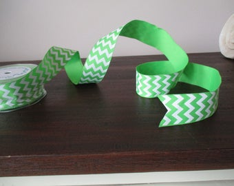 """20 Yards Wired Green Chevron Ribbon 1.5"""" Wide DIY Rustic Wedding Decoration Supply Gift Wrapping Bulk Ribbon Green and White #819"""