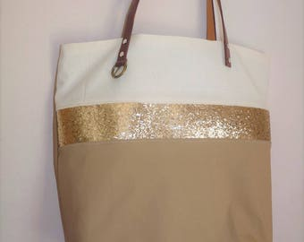 Ivory/beige tote bag taupe and band glitter, golden brown leather handles