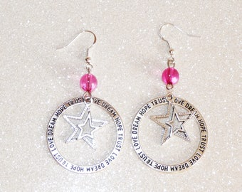 Earrings ' hoop 925 Sterling Silver earrings with charm star and Pearl Pink