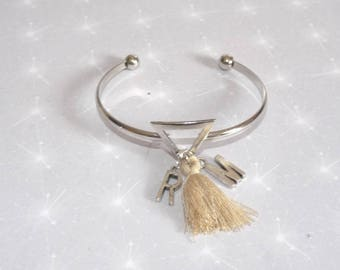 Customizable with initials, names and beige tassel triangle silver Bangle