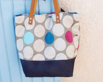 cabas bag beige/pink fuschia/blue/denim with round patterns geometric camel leather handles