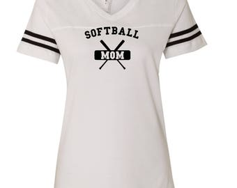 Softball Mom D136  LAT - Women's Football V-Neck Fine Jersey Tee - 3537