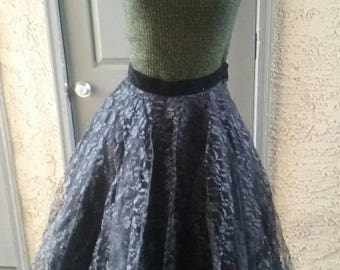 SALE 1950s Wilroy, black lace, full skirt, rockabilly,  pin up, VLV