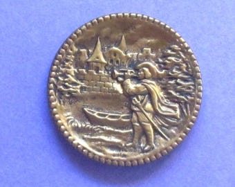 Large Antique Brass Trumpeter Of Sackingen Button