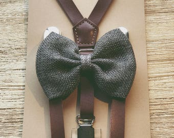 Rustic Burlap Gray Bowtie/Suspender set baby boys/toddler/wedding groomsmen Coffee brown Leather Suspenders Leather Toddler Braces/Bowtie
