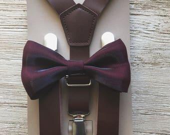 Deep burgundy Groomsmen bow tie wedding Outfits baby Ring Bearer Outfit rustic groomsmen bow tie and suspenders vintage wedding groomsmen