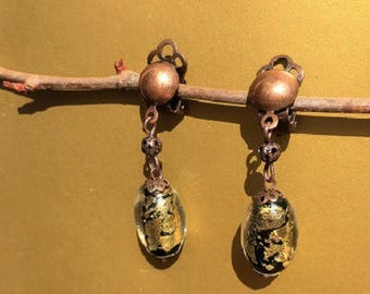 Copper Pearl Earrings silver leaf