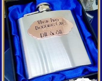 Wedding Groom Gift - Groom Hip Flask - Wedding Day Gift - Copper Wedding Day Keepsake - When Two Became One - Personalised Hipflask - Groom