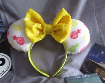 Pineapple Dole Whip Polynesian Minnie/Mickey Mouse Ears/ Headband