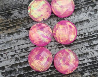 12mm Dark Pink Opal Resin Cabochon