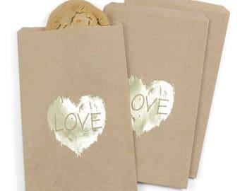 Gold Heart Kraft Paper Rustic Wedding Favor Bags Cake Bags (Pack of 25)