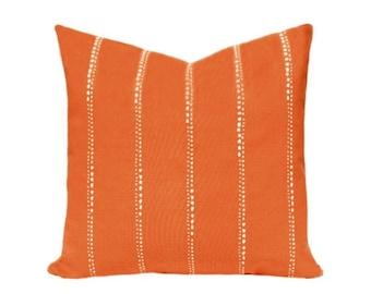 SALE Orange Decorative Pillow Cover, Decorative Pillow Cover, Orange and White Striped Pillow, Orange Cushion Covers, Carlo Monarch Lines De