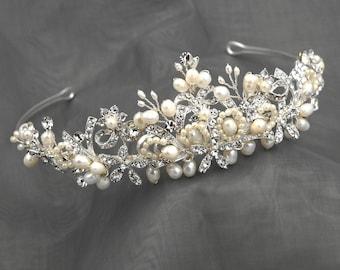 Bridal Leaf Crown, Freshwater Pearl Wedding Tiara, Silver Wedding Crown, Floral Bridal Tiara, Flower Crown, Silver Leaf Wedding Tiara HMH391