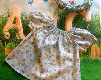Size 1 dress cotton owl pattern toddler