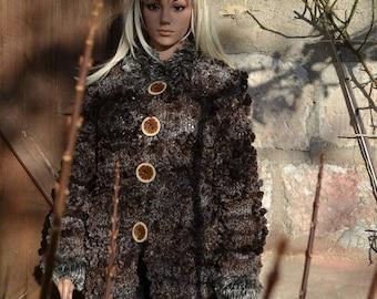 glossy brown women's coat