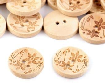 wooden buttons round 20 mm flower pattern