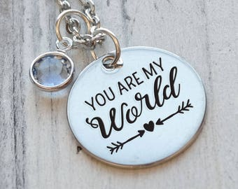 You are My World Personalized Engraved Necklace