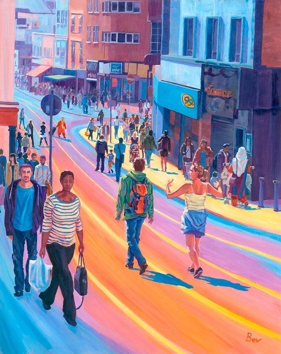 "Rainbow Roads, print, 16X20"", Croydon shoppers"