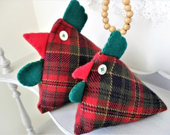 Pair TARTAN Chickens Handcrafted Fabric Chickens Mother & Baby Shelf Sitters Chicken Friends Pincushion Ornaments ECO-FRIENDLY Chicken Lover