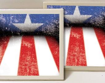 Puerto Rico Rican PR Flag Design Set of 2 Ceramic Tile Coasters