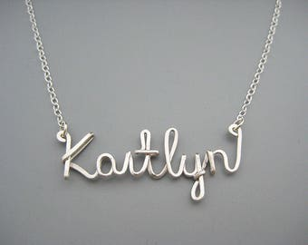 Cursive Name Necklace - personalized script word with delicate sterling silver chain, new grandma and wedding name gift