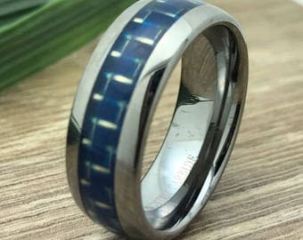 8mm Tungsten Ring, Personalized Custom Engrave Tungsten Wedding Ring, Blue Carbon Fiber Wedding Ring, Comfort Fit