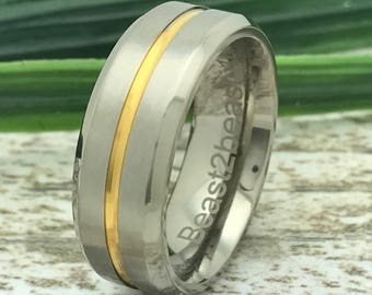 7mm Tungsten Ring, Personalized Tungsten Ring Band, Two Tone Men's Wedding  Ring, Men's Ring, Father's Day Gift