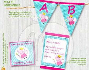 Peppa Pig Princess Printable Kit with Editable Texts! INSTANT DOWNLOAD!!