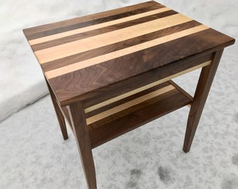 Walnut and Curly Maple End Table