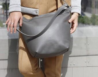 Gray leather hobo bag leather hobo bag hobo bag leather bag leather shoulder bag leather crossbody bag leather purse leather tote bag hobo