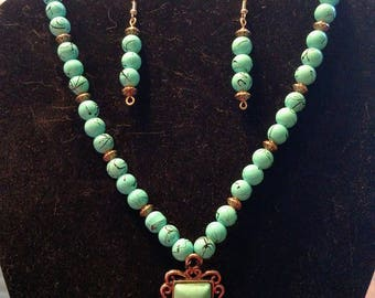 Handmade Beaded Necklace with Turquoise Pendant & Straight Earrings in Blue and Black