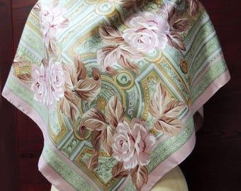 Vintage Charter Club LARGE Silk Scarf: Hip Retro Fashion Headscarf. Regency Roses in Mint, Mauve, Tan. Birthday, Valentine Gift. 36 in SC173