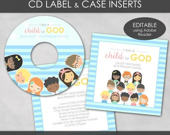 LDS 2018 Primary CD Label & Case Insert - I Am a Child of God Theme PRINTABLE  Editable Pdf Sharing Time Music Children Song Gift P002