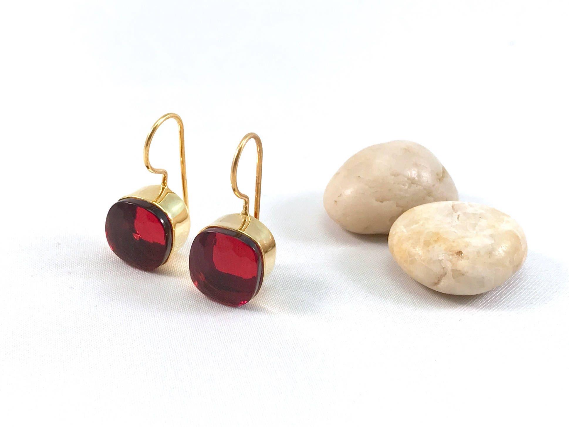 Pink tourmaline dangle earrings gold Square tourmaline earrings