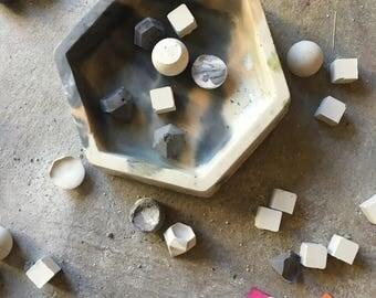Marbled Concrete Hexagon Shaped Jewelry Trinket Catchall Keepsake Box