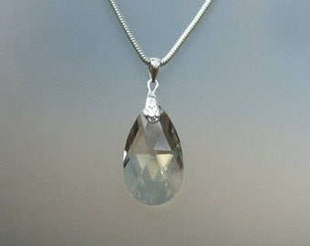Silver Swarovski crystal teardrop Necklace -Sterling Silver customised length gift box