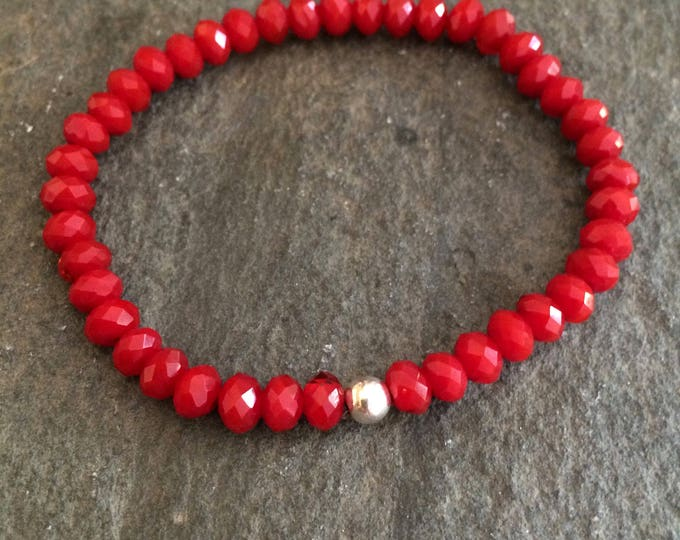 Ruby Red crystal stretch bracelet with Sterling Silver or Gold Fill bead - July birthstone jewellery gift