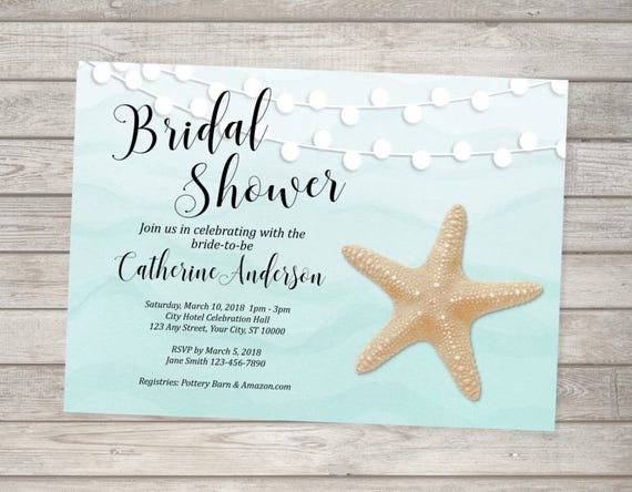 Beach Bridal Shower Invitation Starfish Bridal Shower Invitation