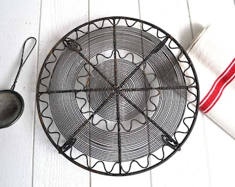 Vintage French Round Metal Wire Cake Cooling Rack Stand Rustic Country Kitchen