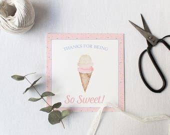 Watercolor Ice Cream Favor Tags, Ice Cream Favor, Ice Cream Favor Tag, Ice Cream Party, Ice Cream Gift Tag, Watercolor Favor Tag, Birthday