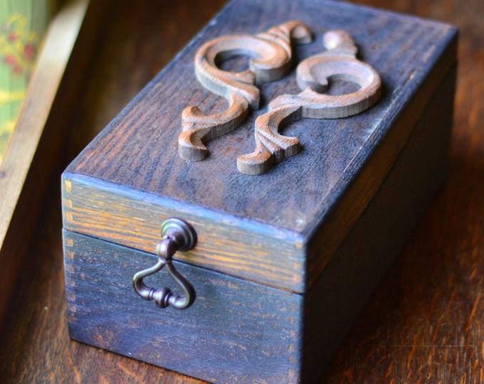 FILE CARD BOX card storage, tarot card storage, oracle deck, wood box, hinged wood box, box with lid