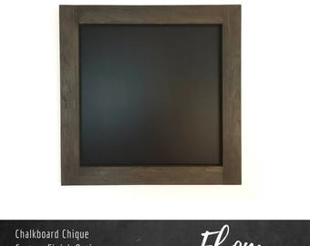 """Square Chalkboard   24"""" x 24""""   Wall Mounted Chalkboard with Pine Frame   Custom Stain and Custom Color Options   Chalk Marker Compatible"""