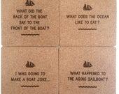 Sailing Jokes Coaster Set - Sailboat Puns - Funny Sailing Gift - Dad Joke - Boat Joke - Sail Humor -  Sailor - Ocean - Fish and Ships