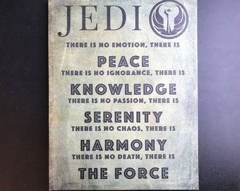 Star Wars Jedi Code Wood Poster Print