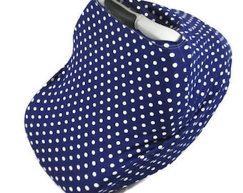 blue polka dot car seat cover, nursing baby cover,  infant car seat canopy, blue and white car seat cover, stretchy car seat, gingersunshine