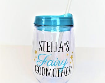 Fairy Godmother Wine Tumbler // Personalized with Child's Name // Godmother Gift // Godmother Wine Glass // Fairy Godmother Gift // Glitter