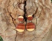 Wood Earrings - Australian Mulga Acacia Wood Earrings Sterling Silver Drop Earrings